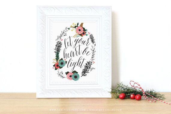 Photo of Christmas art print, rustic holiday decor, Christmas text art, let your heart be light, Christmas wreath illustration, Typography Print