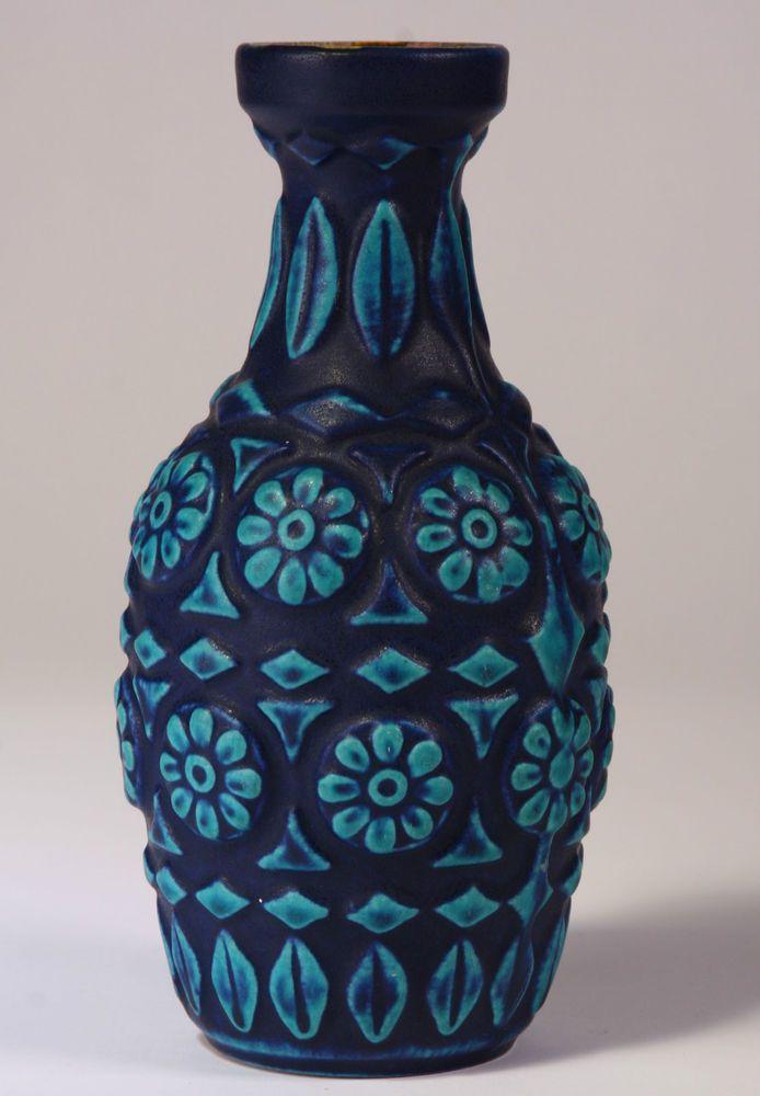 Vintage Retro 1960s Fat Lava Bay Keramik Blue Vase Bodo Mans German Pottery Unique Antiques
