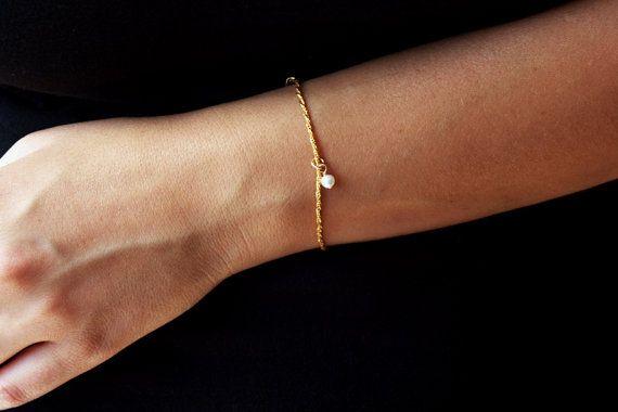 Rope bracelet pearl bracelet 14k gold bracelet by LevRanJewelry