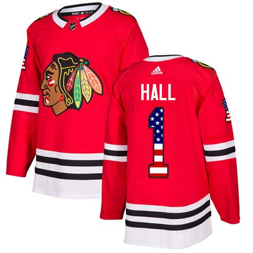 Adidas Blackhawks  1 Glenn Hall Red Home Authentic USA Flag Stitched NHL  Jersey f9159ca05