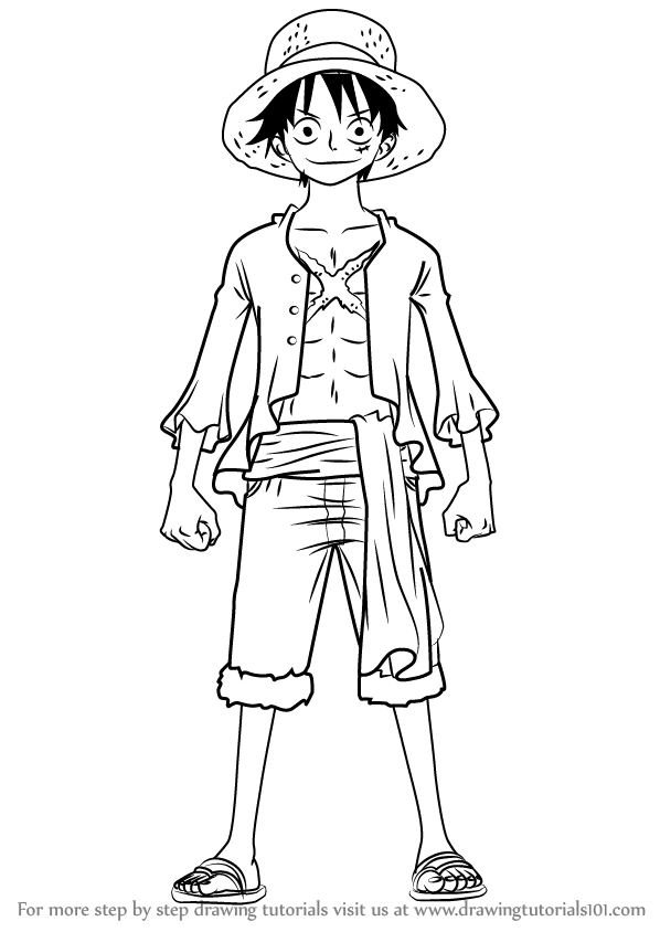 Learn How To Draw Monkey D Luffy Full Body From One Piece One Piece Step By Step Drawing Tutorials One Piece Drawing One Piece Easy Drawings