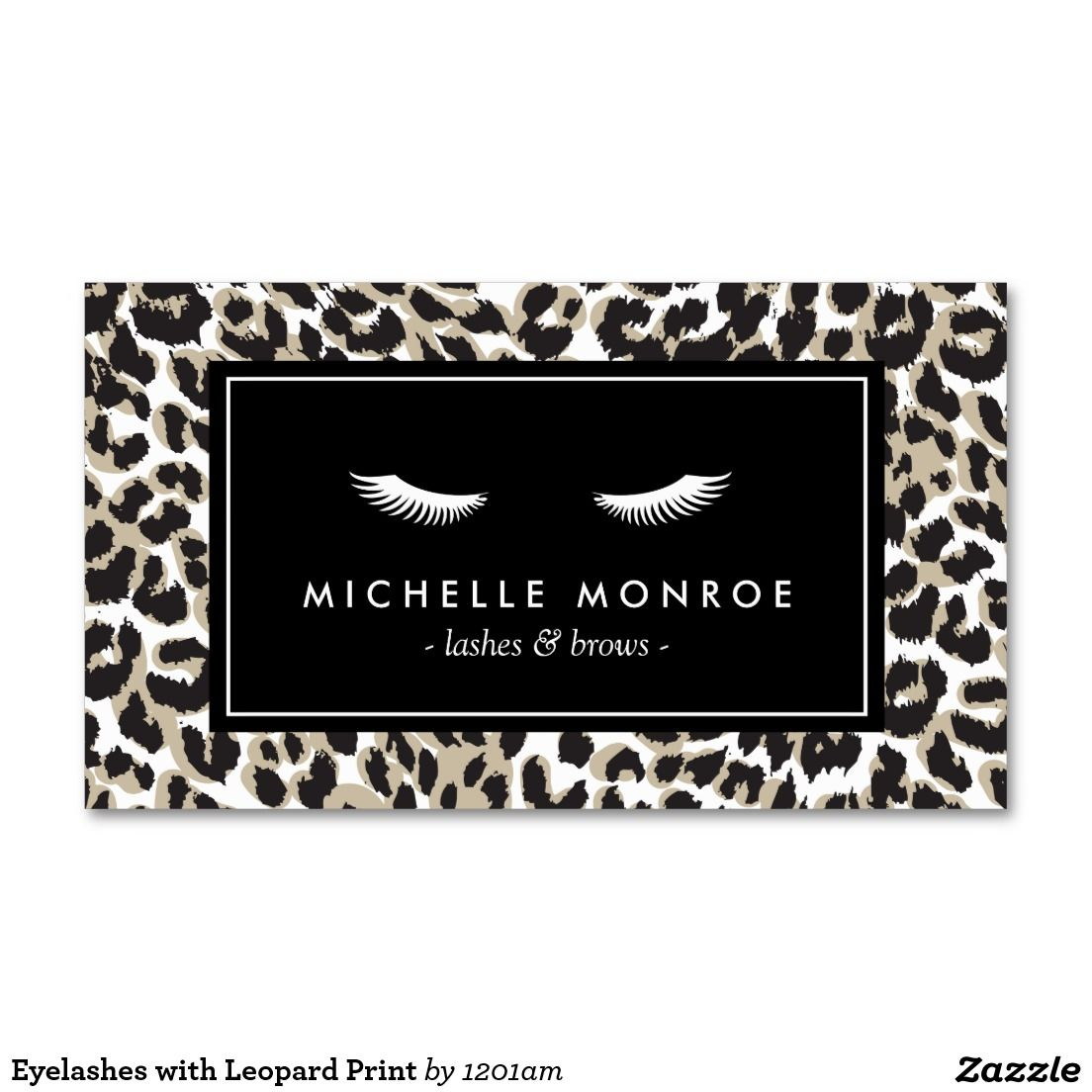 Eyelashes with Leopard Print Business Card - Perfect for Lash ...