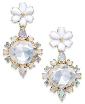 be800c12eddb7 kate spade new york Gold-Tone Multi-Stone Flower Drop Earrings ...