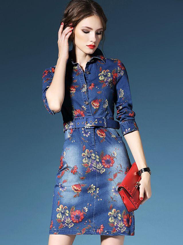 96400e24047f Blue Lapel Half Sleeve Drawstring Pockets Print Denim Dress 52.99 ...