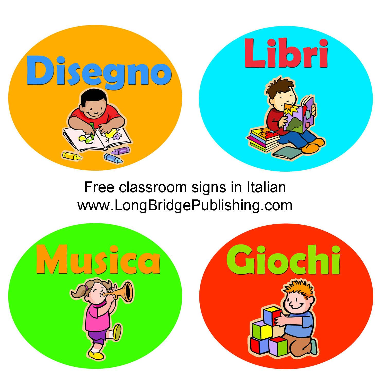 Free Classroom Signs In Italian That Can Be Downloaded And