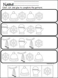 free winter cut and paste pattern practice winter december january lessons kindergarten. Black Bedroom Furniture Sets. Home Design Ideas