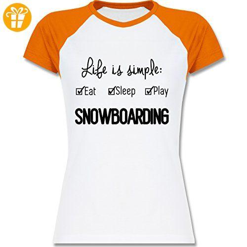 Wintersport - Life is simple Snowboarding - XXL - Weiß/Orange - L195 -  zweifarbiges
