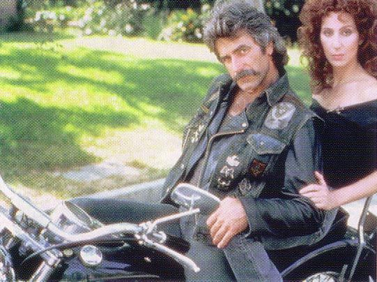 Dreamy Sam Elliot & Cher on a motorcycle (www.bikemenu.com)