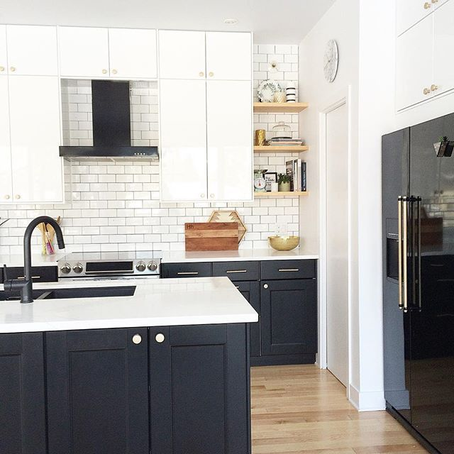 Modern Kitchen, Black And White Kitchen, Kitchen Design, Black Appliances,  Shelves, Kitchen Shelves, Black Range Hood, Brass Knobs Kitchen, Ikea  Kitchen, ...