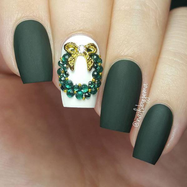 christmas nails art design | cute | green | glitter | matte | MAKEUP ...