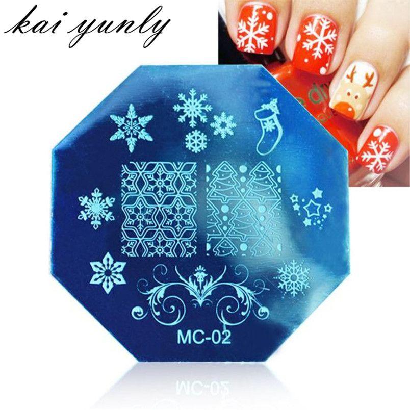 1 PZ di Natale FAI DA TE Bollo Piatti Manicure Template Nail Art Piatto di Immagine Stamping Strumento di Trasferimento di Stampa Dropshipping Ottobre 2