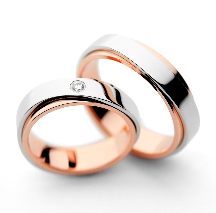 commitment his set mixed bands gold white matching metal and hers wedding rings textured pink band media