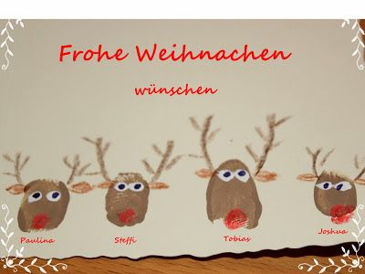 Weihnachtskarten Mit Fingerabdruck.Selbstgemacht Filz Weihnachtskarten Mit Fingerabdruck Elchen
