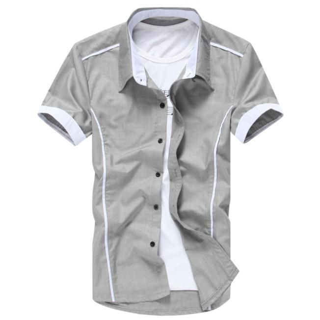 1e09b028891 2016 Men New Arrial Spring Summer Fashion Slim Hot men s Shirts Short  Sleeve Casual Shirts 5 color M-XXXXL best sell