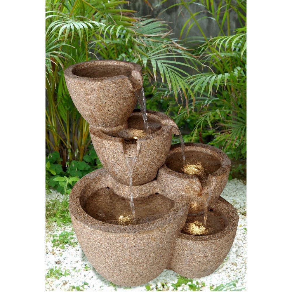 Merveilleux Muiti Pots Sandstone Outdoor Or Indoor Water Fountain With Led Lights