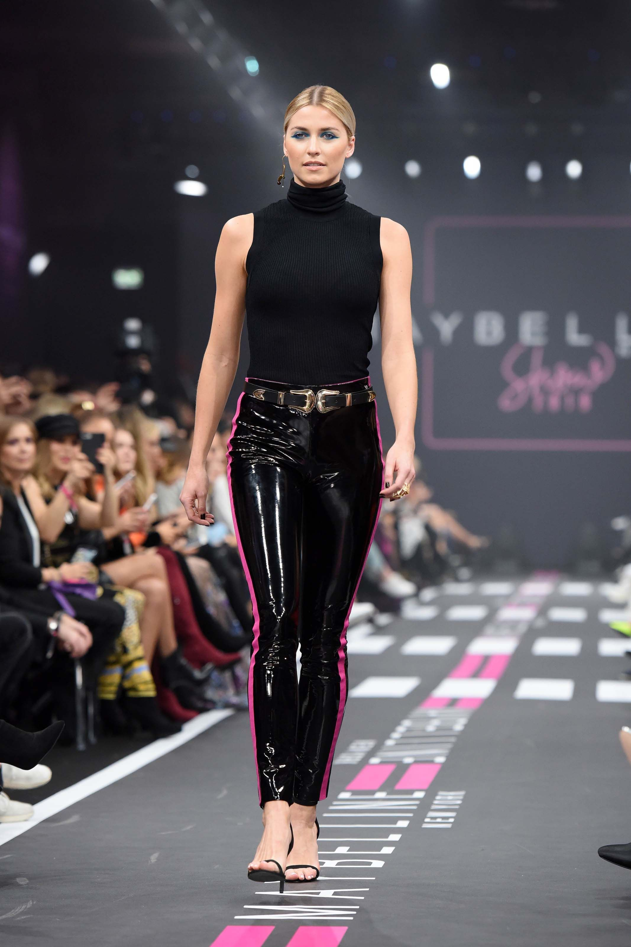 Lena Gercke Attends Maybelline Show Vinyl Clothing