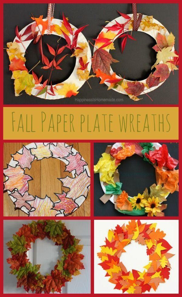 Paper Plate Autumn Fall Leaf Wreaths Kid CraftsAutumn