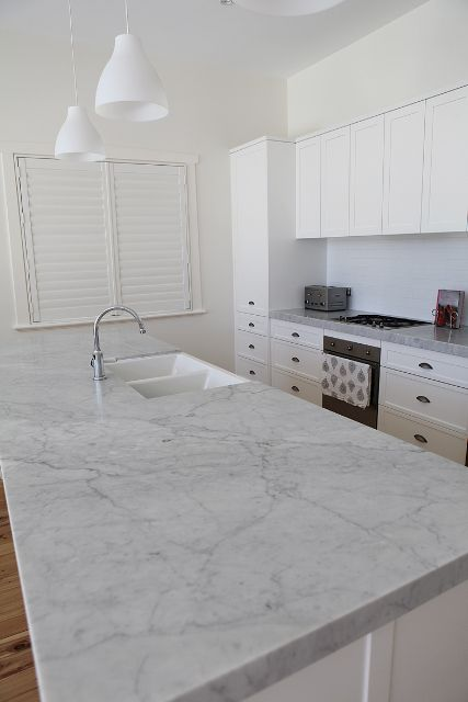 Carrara Marble Bench Top Fabricated And Installed Marable Slab House Sydney Kitchen