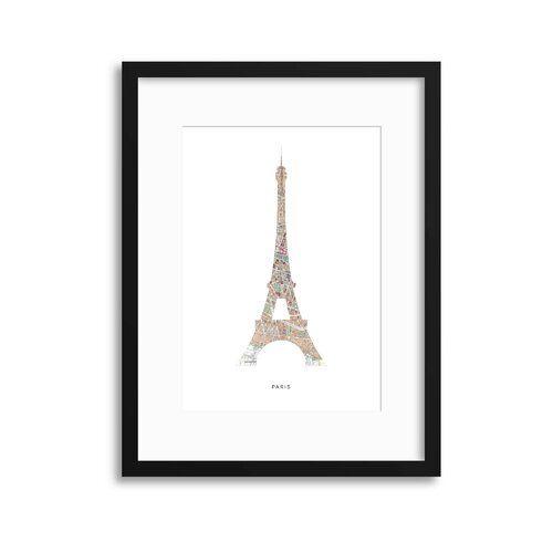 Ebern Designs Gerahmter Grafikdruck Map Forms: Paris Eiffel Tower | Wayfair.de #eiffeltower