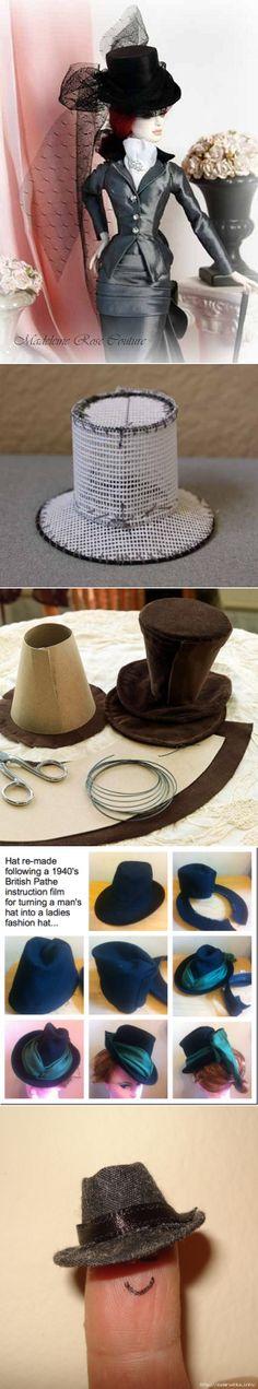 Sombreros para muñecas. El cilindro, sombrero, gorra.