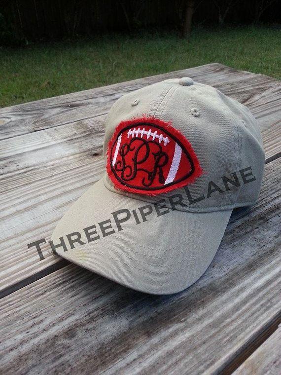 Monogrammed Raggy Football Patch Hat By Threepiperlane On Etsy 17 00 Applique Monogram Hat Ideas Monogram