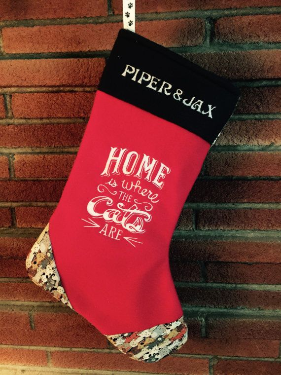 Personalized Cat Christmas Stocking Red Fabric by UbbysnStuff
