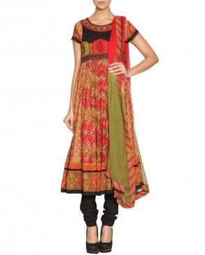 RITU KUMAR Fiery Red & Meadow Green Anarkali Suit $210