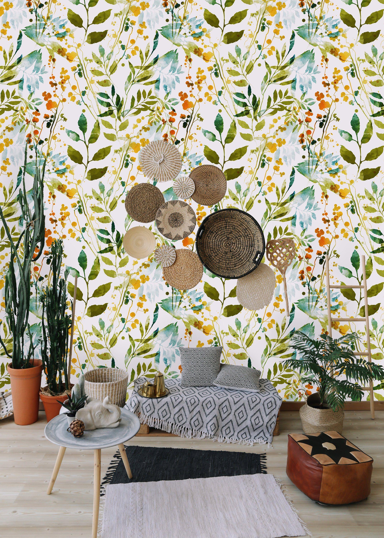 Hand Drawn Boho Spring Leaves Removable Wallpaper Peel And Etsy Boho Wallpaper Wall Wallpaper Affordable Wallpaper