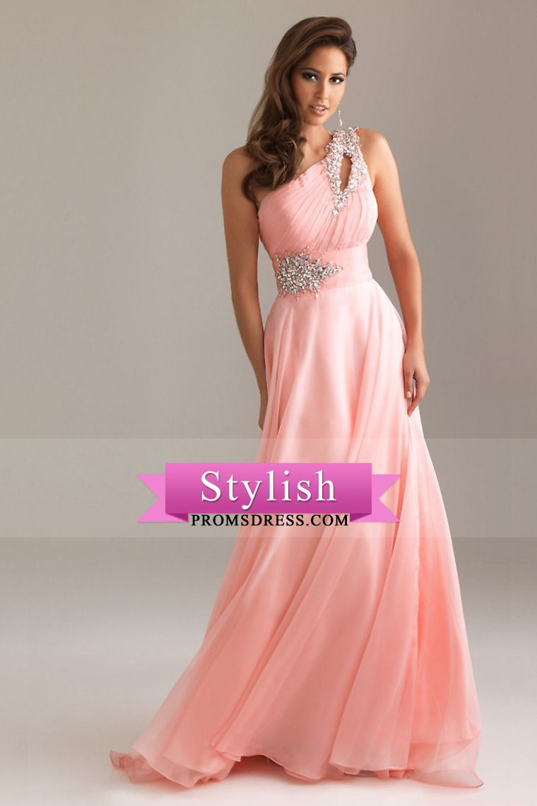 2015 Elegant Prom Dresses A Line One Shoulder Chiffon With Beading ...