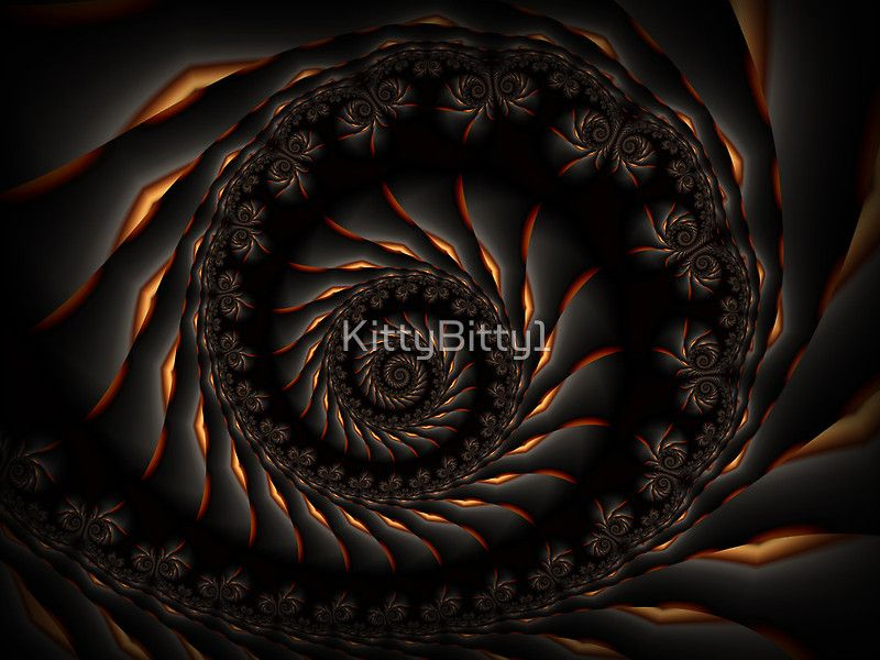 Dark Fractal Spiral. Kitty Bitty Redbubble