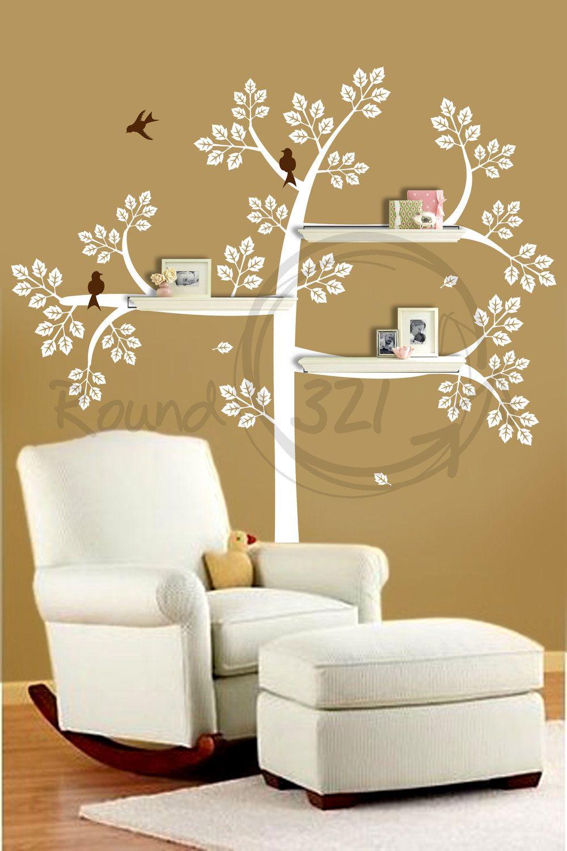 NurseryRoomShelveTreeWithWallDecalBedroomandbyRound - Wall decals room ideas