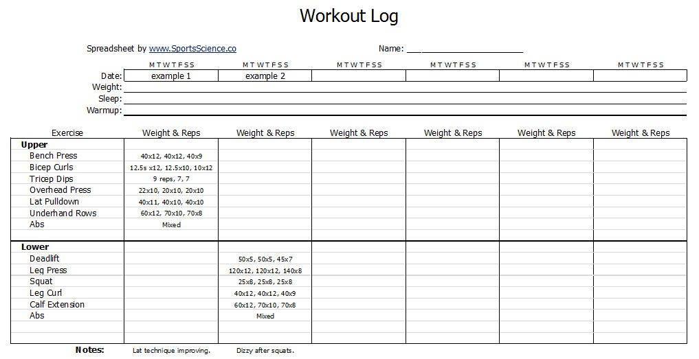 Free Workout Log Template  Templates