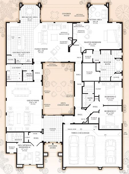 Monteloma At Windgate Ranch Scottsdale Desert Willow Collection Luxury New Homes In Scottsdale Az Courtyard House Plans House Floor Plans House Plans