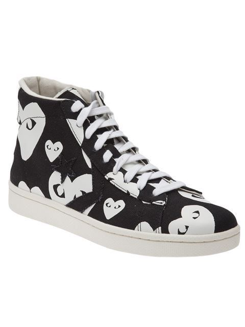 44eeb19dd10671 Comme Des Garçons Play for Converse - Black canvas  Pro Star Hi  sneakers  featuring white ditsy hearts! At farfetch.com - price depends on boutique  sold ...
