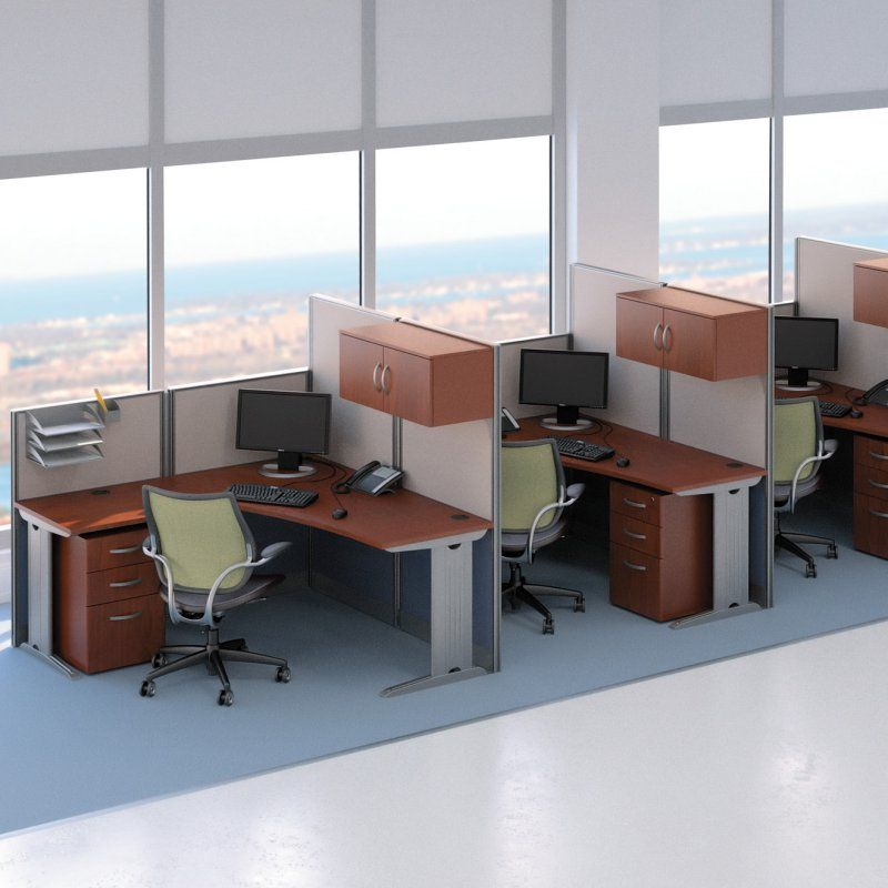 Bush Office-in-an-Hour L-Shaped Triple Workstation