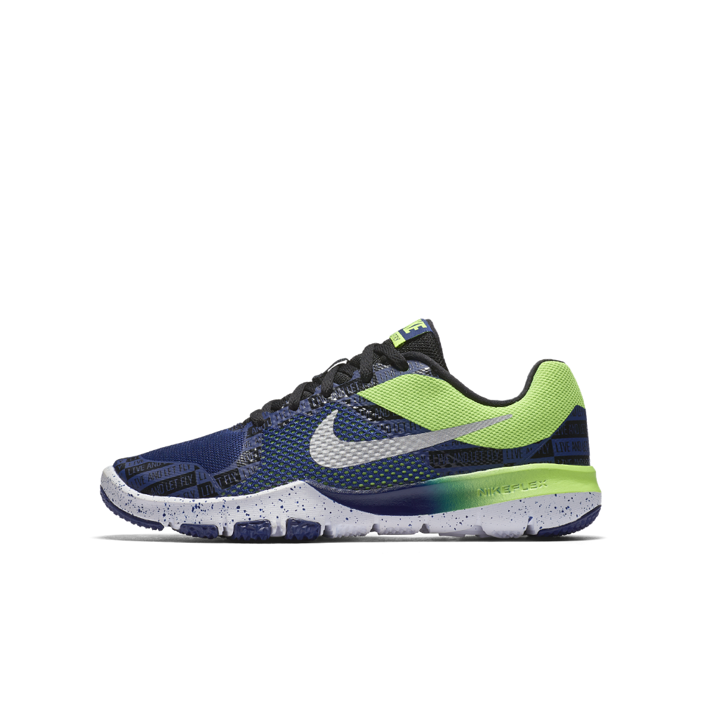 d2a7e1368019 Nike Flex TR Control RW Little Big Kids  Training Shoe Size 4.5Y (Blue)