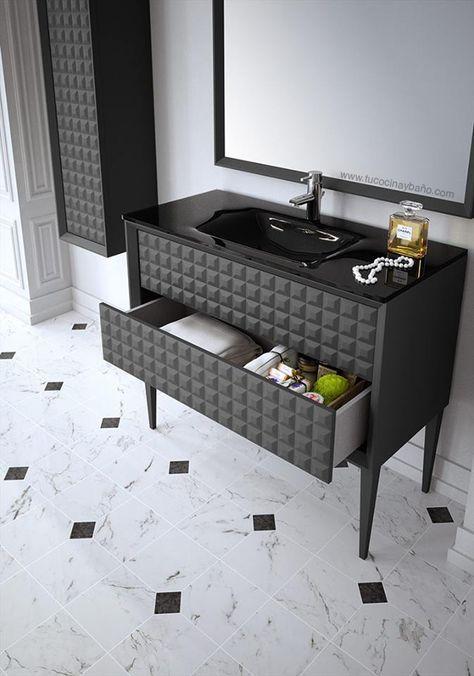 mueble de baño gris antracita satinado con textura de capitoné y ...
