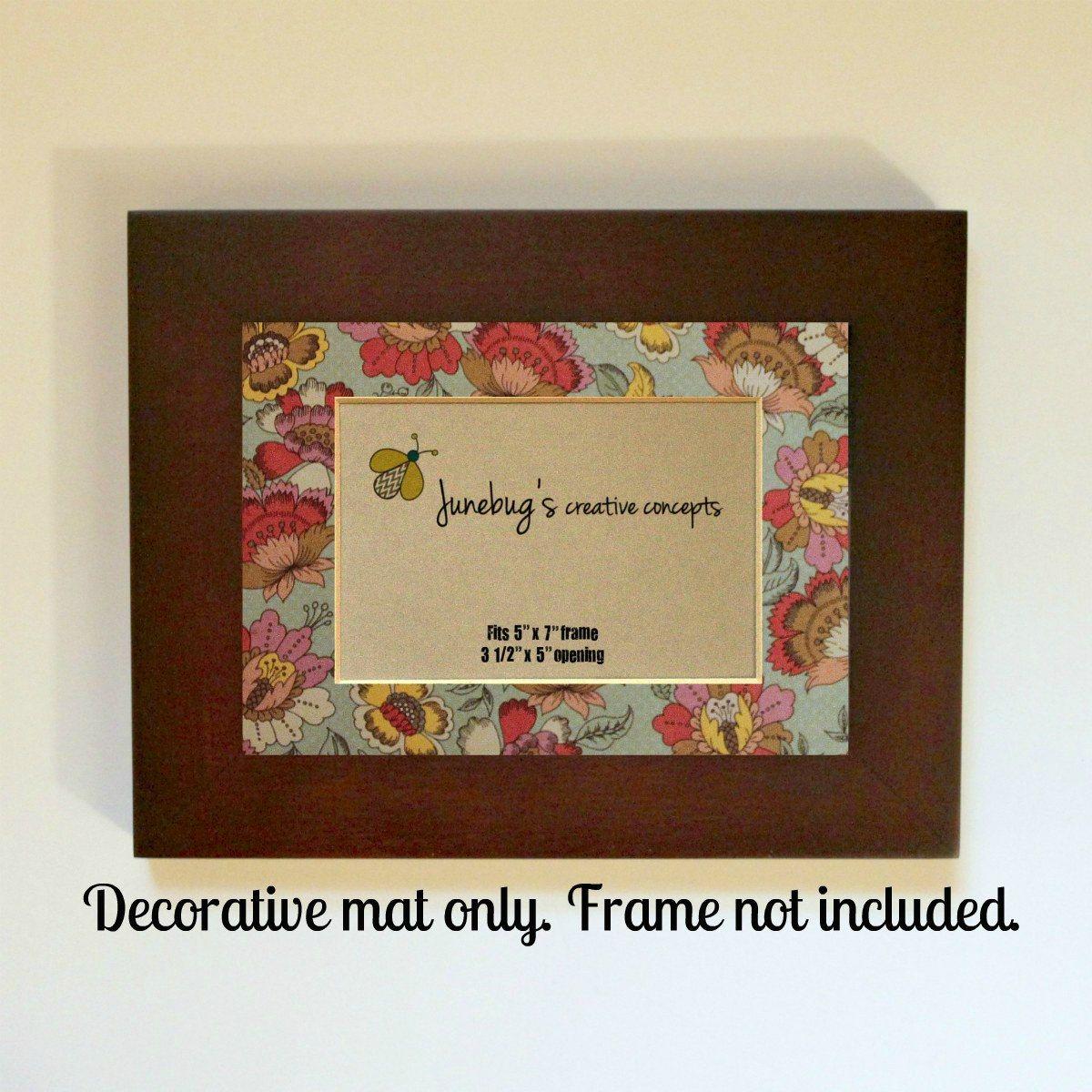 Home Decor Photo Mat Fits 5x7 Frame Vintage Floral Decorative Photo