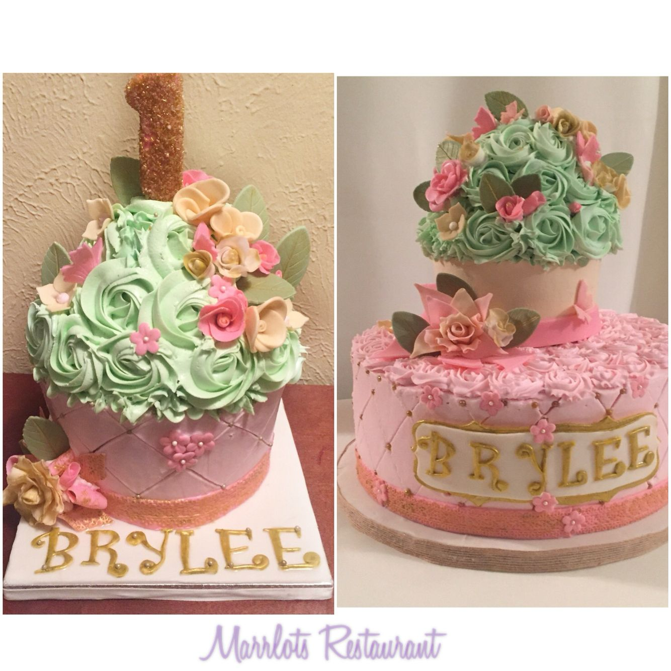 Giant Cupcake Smash Cake In Mint Pink And Gold Three Layer