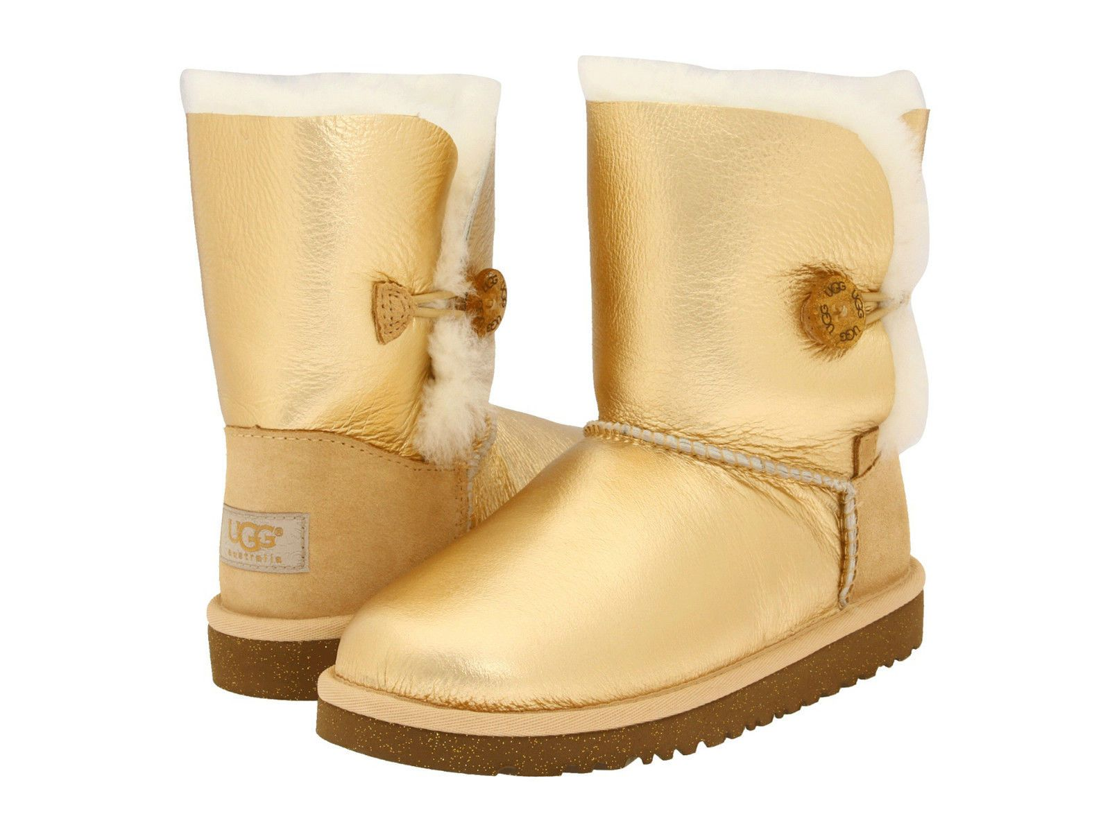 New In Box Ugg Kids Bailey Button Metallic Gold Boots Sz 3 Youth Op Co Boots Womens Boots Ugg Boots Cheap