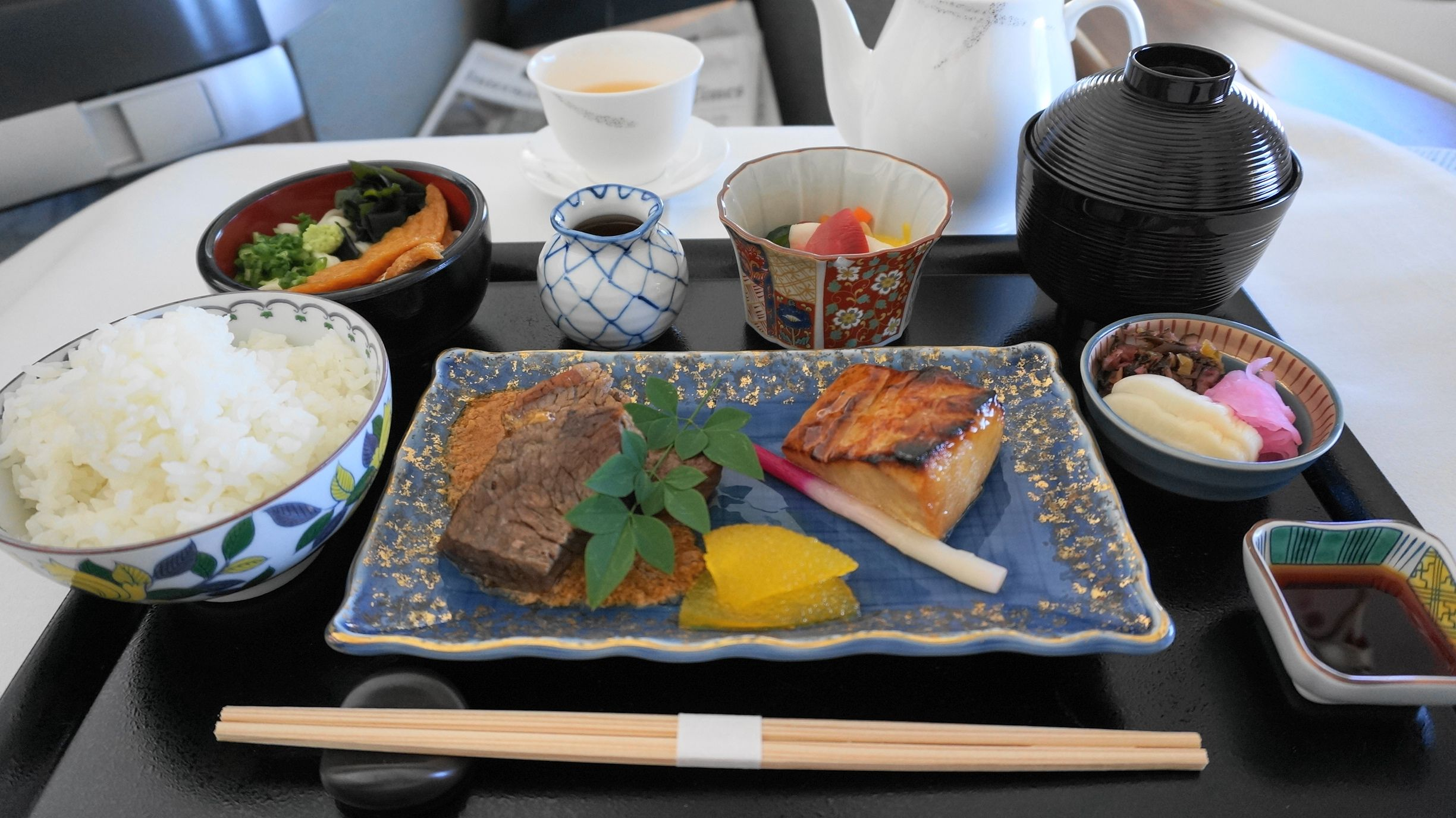 Cathay pacific first class japanese meal hanedahong kong