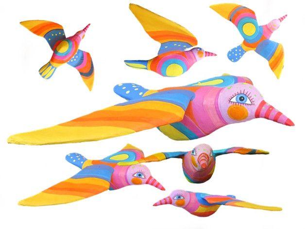 Vogel Zum Aufhängen, Pappmache, Hohlkörper