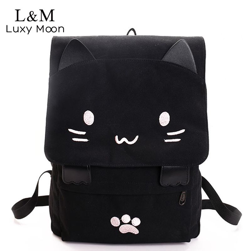 Cheap backpack computer, Buy Quality backpack 80l directly from China  backpack dispenser Suppliers  Cute Cat Canvas Backpack Cartoon Embroidery  Backpacks ... 8de1e42f65