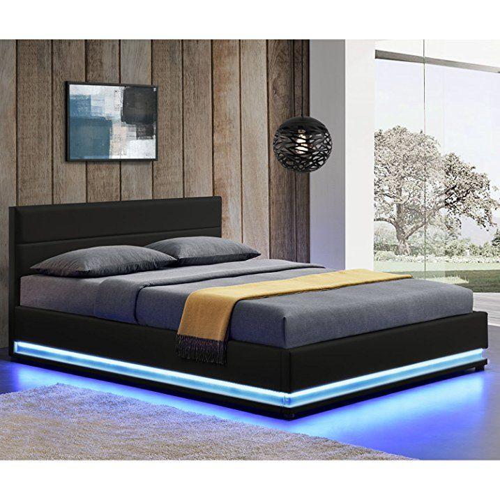 Polsterbett Toulouse 140 x 200 cm mit rundum LED und Bettkasten