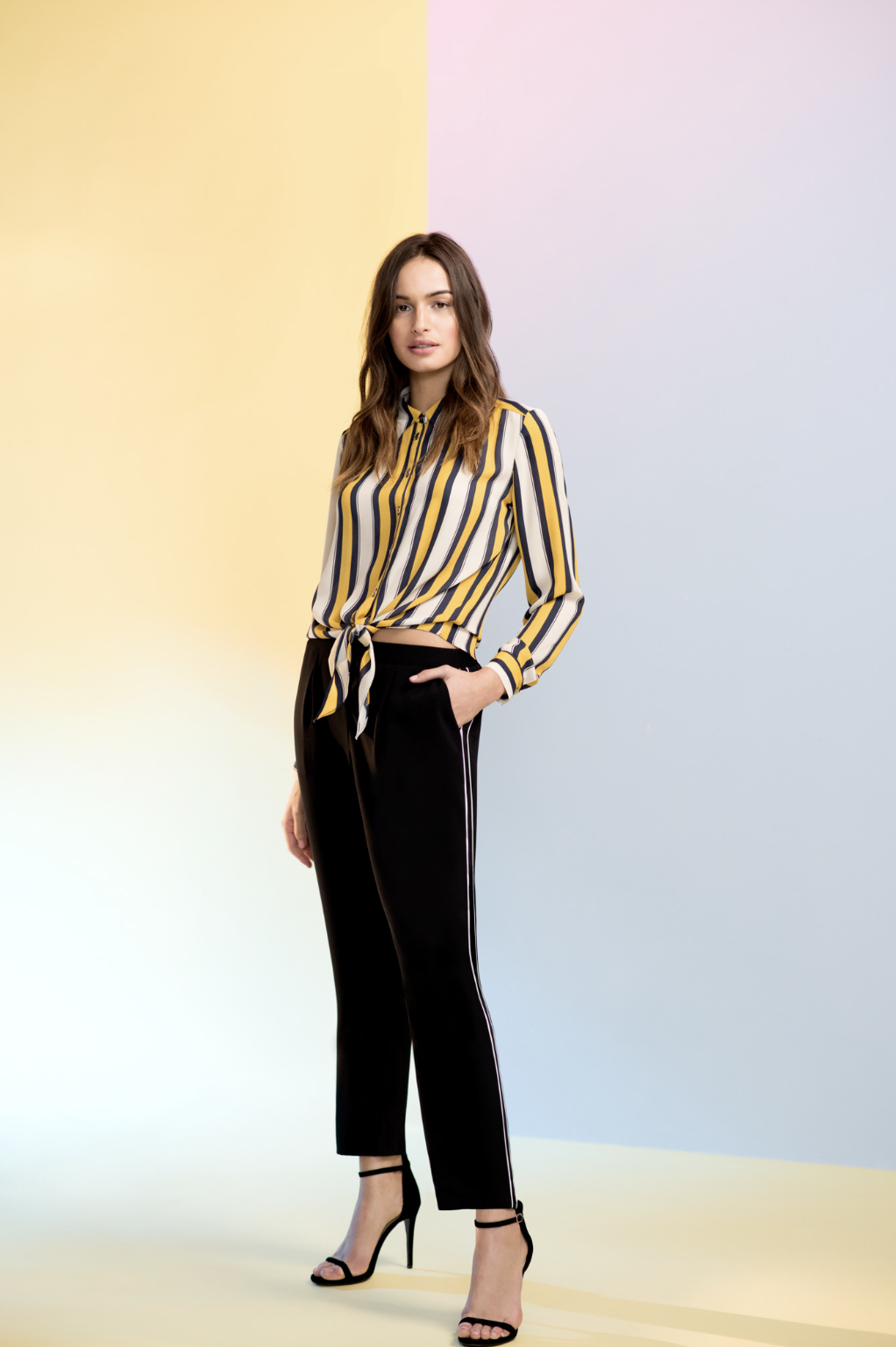 2662f79329e519 Yellow Stripe Tie Front Shirt in 2018