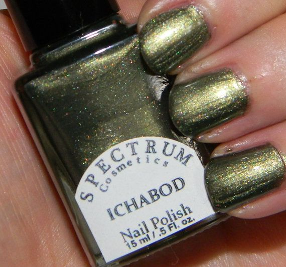 Ichabod Shimmery Green Nail Polish By Spectrumcosmetic On Etsy 8 00