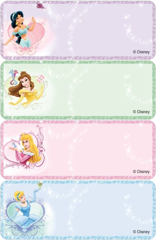 ef386edbb194 Disney Princesses Address Labels | Random | Name tag templates ...