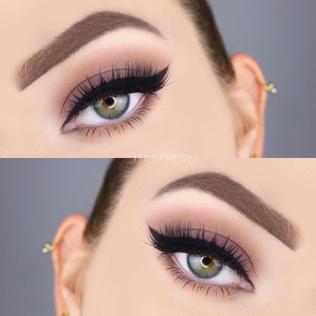 Matte Top Heavy Neutral Smokey Eye W Black Winged Liner
