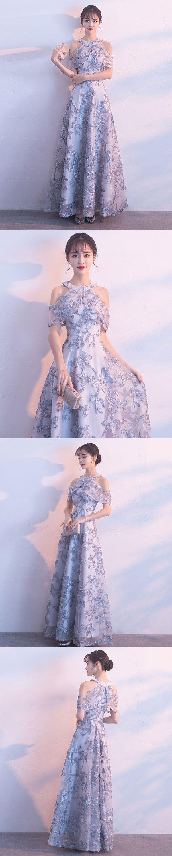 Lace prom dresses a line halter floorlength tulle long chic prom