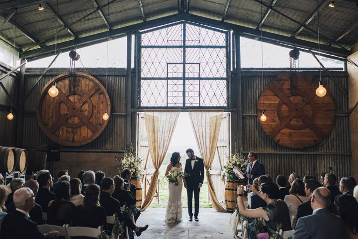 Barn Wedding ceremony | itakeyou.co.uk #wedding #rustic #rusticwedding #barnwedding #vineyardwedding #realwedding #weddingphotos
